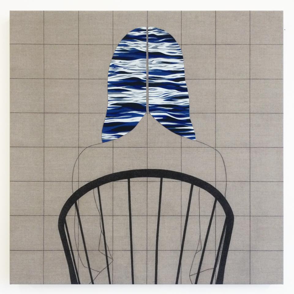 El Azul (Ella)   2017  Oil and graphite on linen  32 in x 32 in