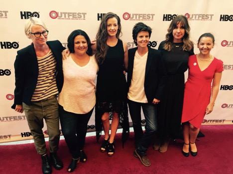 Maeve Kerrigan, Jennifer Arnold (writer), Stephanie Allynne, Tig Notaro (executive producer), Kristina Goolsby (co-director/producer), Ashley York (co-director/producer) at the Outfest opening night gala.  Tig  was the opening night movie at the festival.