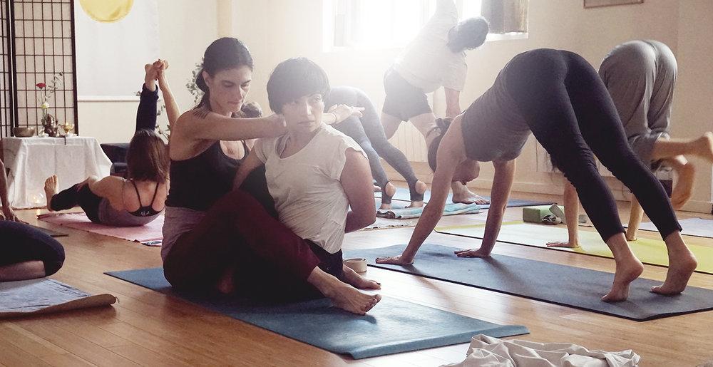 En cours de Ashtanga Yoga  Mysore  Style votre pratique évolue et se développe dans un travail d'échange important et personnalisé avec le professeur.