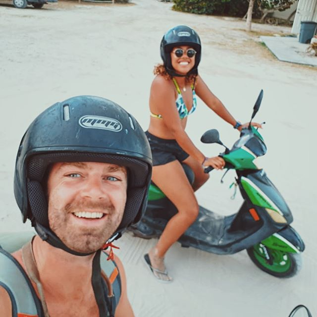 Epitome of type 2 fun: riding a scooter for the first time through loose sand/rocks
