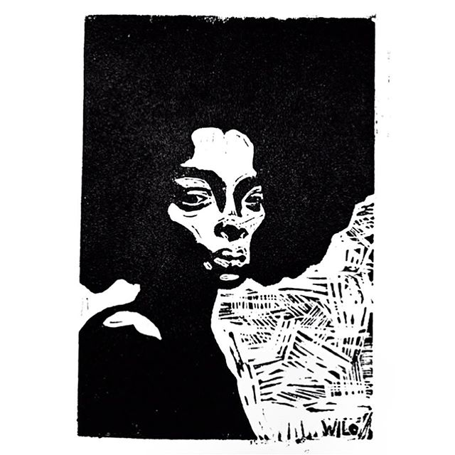 """""""Don't Touch My Hair"""" . . a print I made inspired by a Solange song  @saintrecords . .    linoleum print with oil based ink    . . scroll to see the process"""