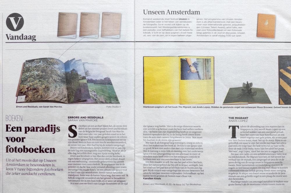 De Volkskrant - Book review - 21/09/2018