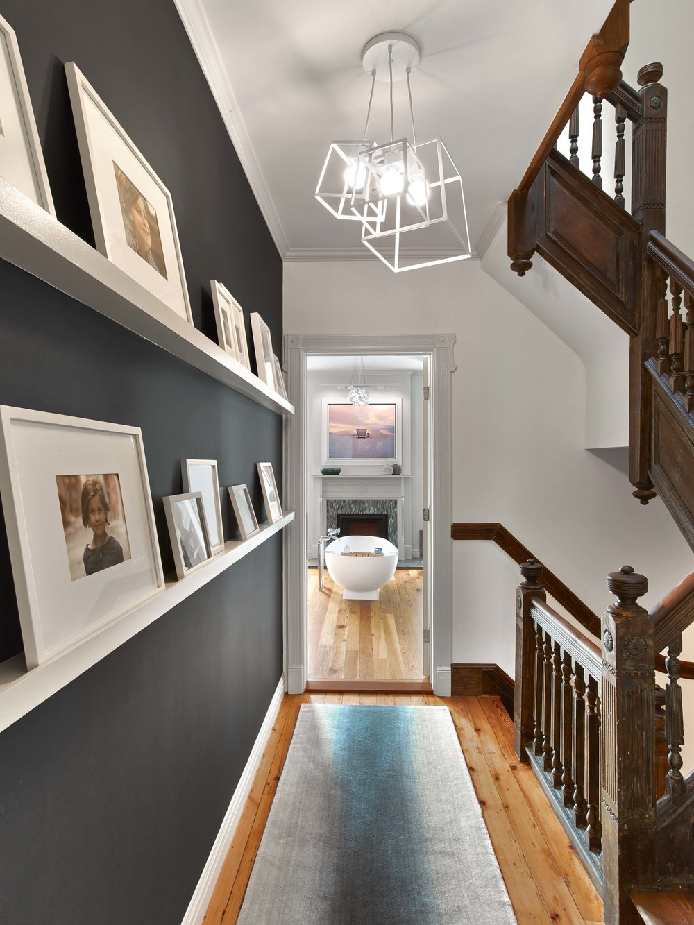 Hallway-Family-Photos-Modern-Bathtub-View-JMorris-Design-Brooklyn.jpg