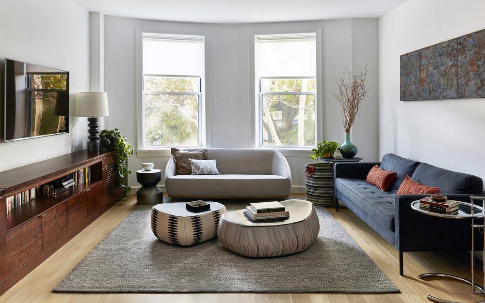 Cozy Modern Living Room Moroso Pouf Kasthall Rug Jmorris Design Interior  Designer Brooklyn