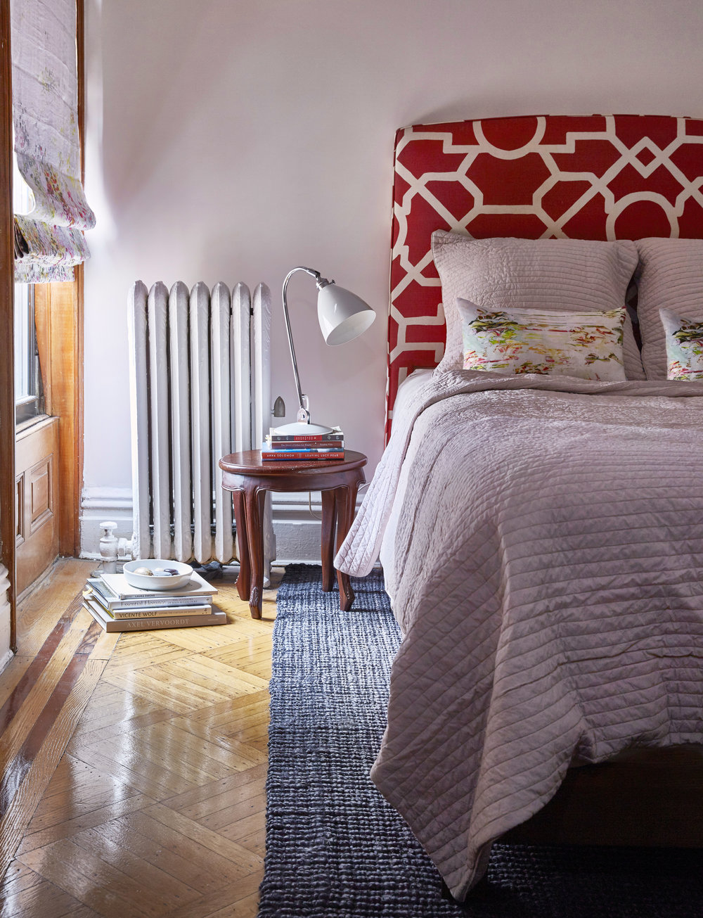 Sweet Pink Red Master Bedroom Classic Townhouse Park Slope Brooklyn JMorris Design Interior Designer New York EDesign