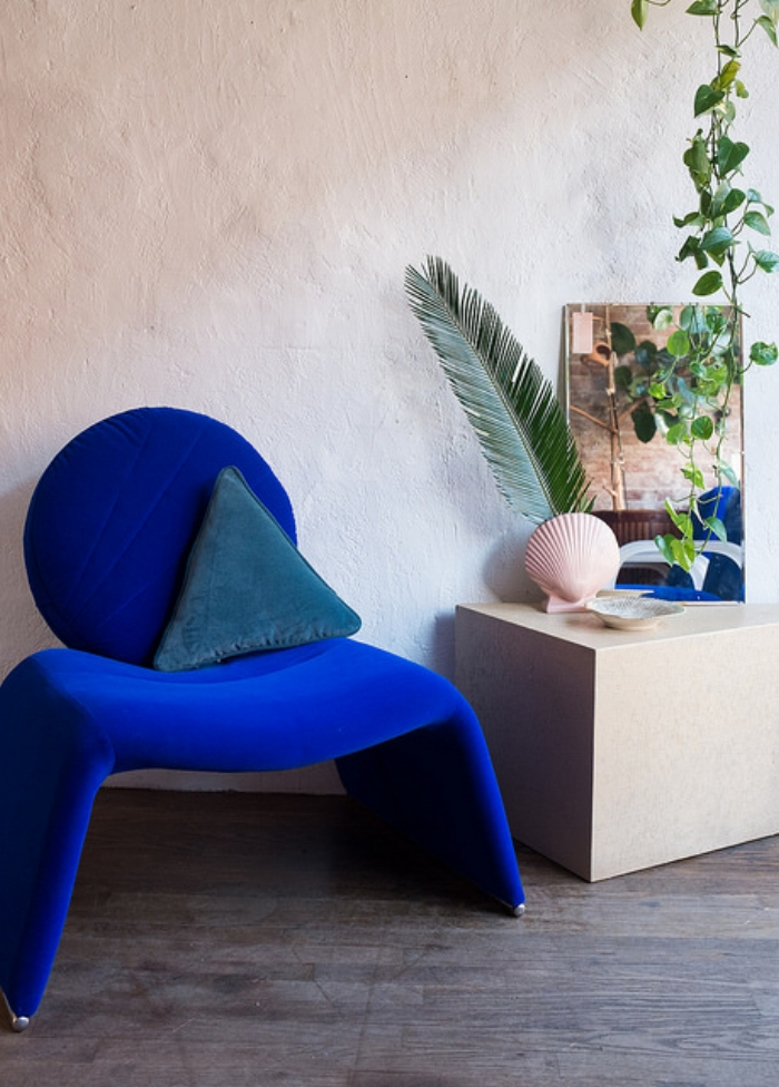 Blue velvet, custom re-upholstered vintage chair from @adaptationsny  http://www.adaptationsny.com/