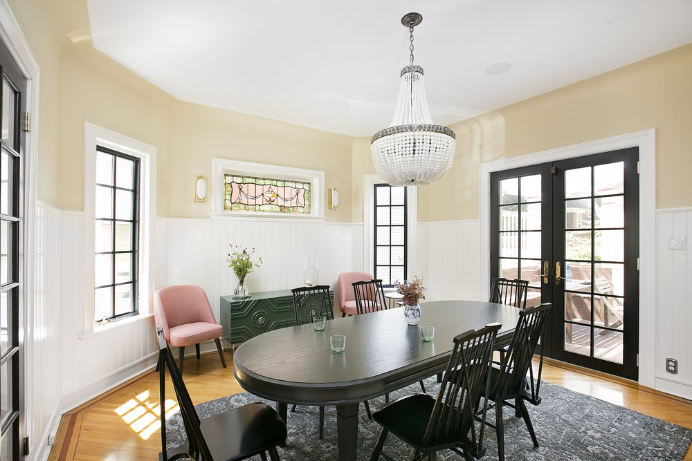 Pink Hunter Green Glamorous Brooklyn Dining Room Jmorris Design Interior  Designer Brooklyn