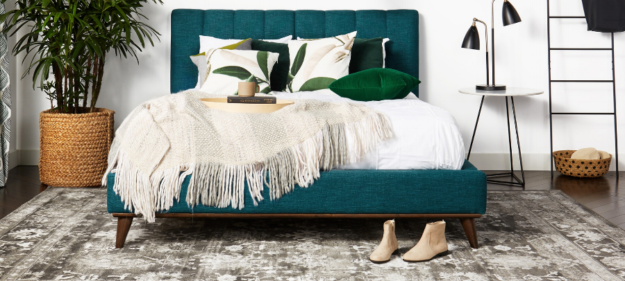 Joybird  has many affordable options, in a wide array of fun colors. They offer a 365 day home trial-and the entire site is currently 25% off! Pictured is the Hughes Bed in Key Largo Zenith Teal Fabric. Image via  joybird.com