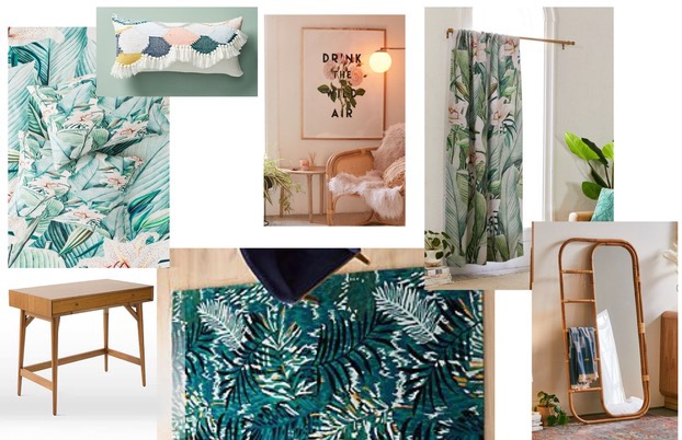 Tropical Fantasy - Turquoise, jungle themed rug and floor coverings with rattan accents make for a relaxing yet energizing vibe. Homework in here? Yes, please…