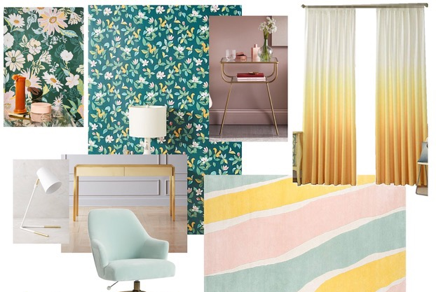 Still Sweet, but Spicy - Youthful and fresh, floral wallpaper complimented by sun-hot ombre drapery, with a dash of brassy-cool in the desk and nightstand. A mint velvet chair to sink into after a long day at school. Lovely!