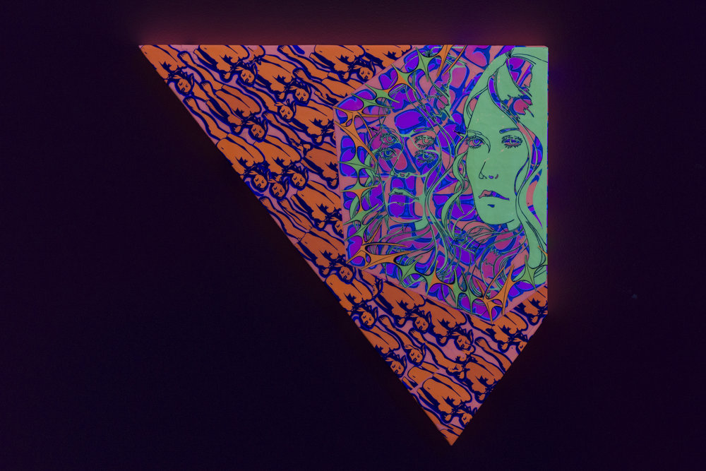 "Astral travelling: Seperation Phase,  2017 (black light)  hand-cut paper and clear acrylic on panel  21"" x 22"""