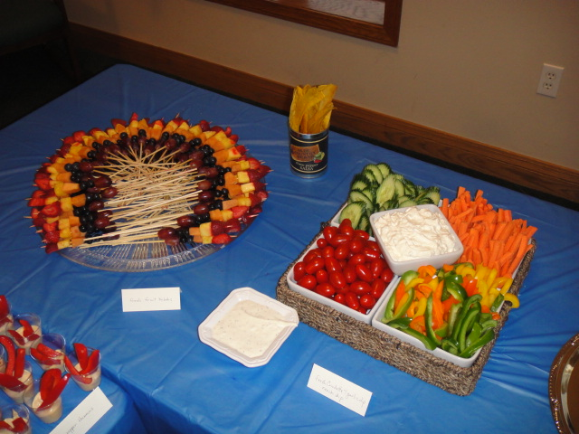 Rainbow fruit skewers, Veg platter.JPG