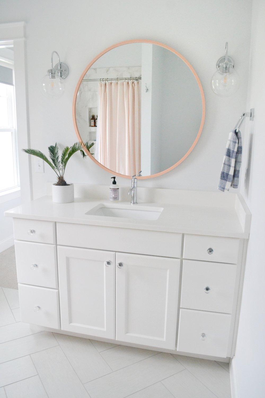 pink mirror bathroom