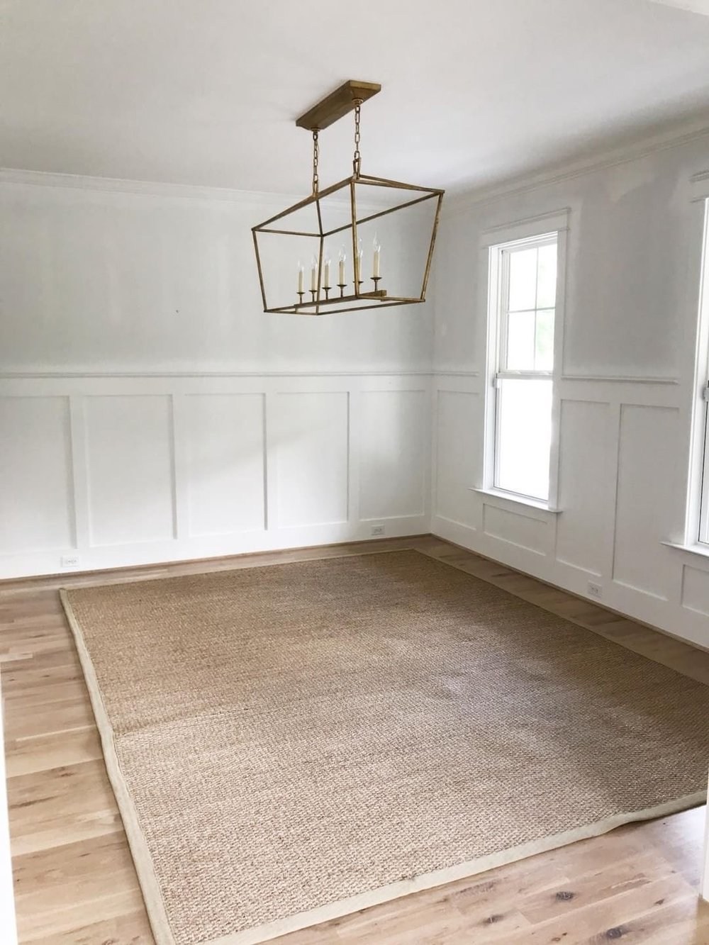 wood white and navy dining room