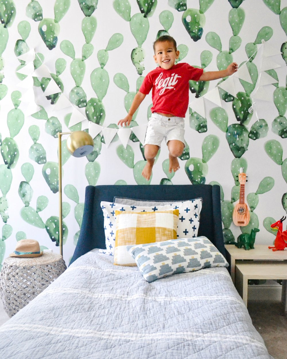 a modern and playful boys room