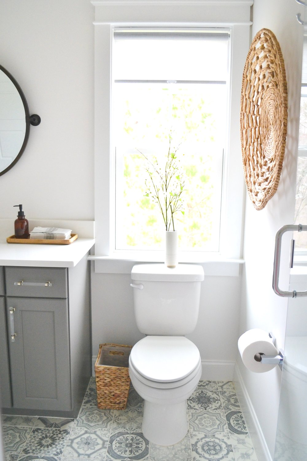 Bathroom Patterned Tile and Mixed Metals