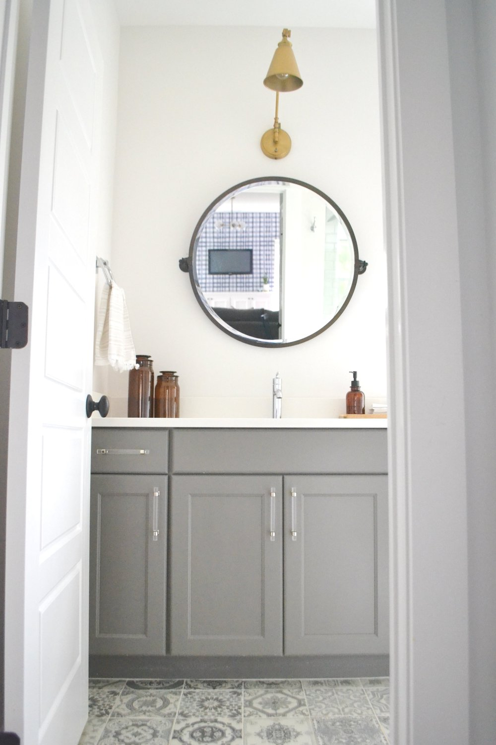 Our Guest Bath: Patterned Tile & Mixed Metals