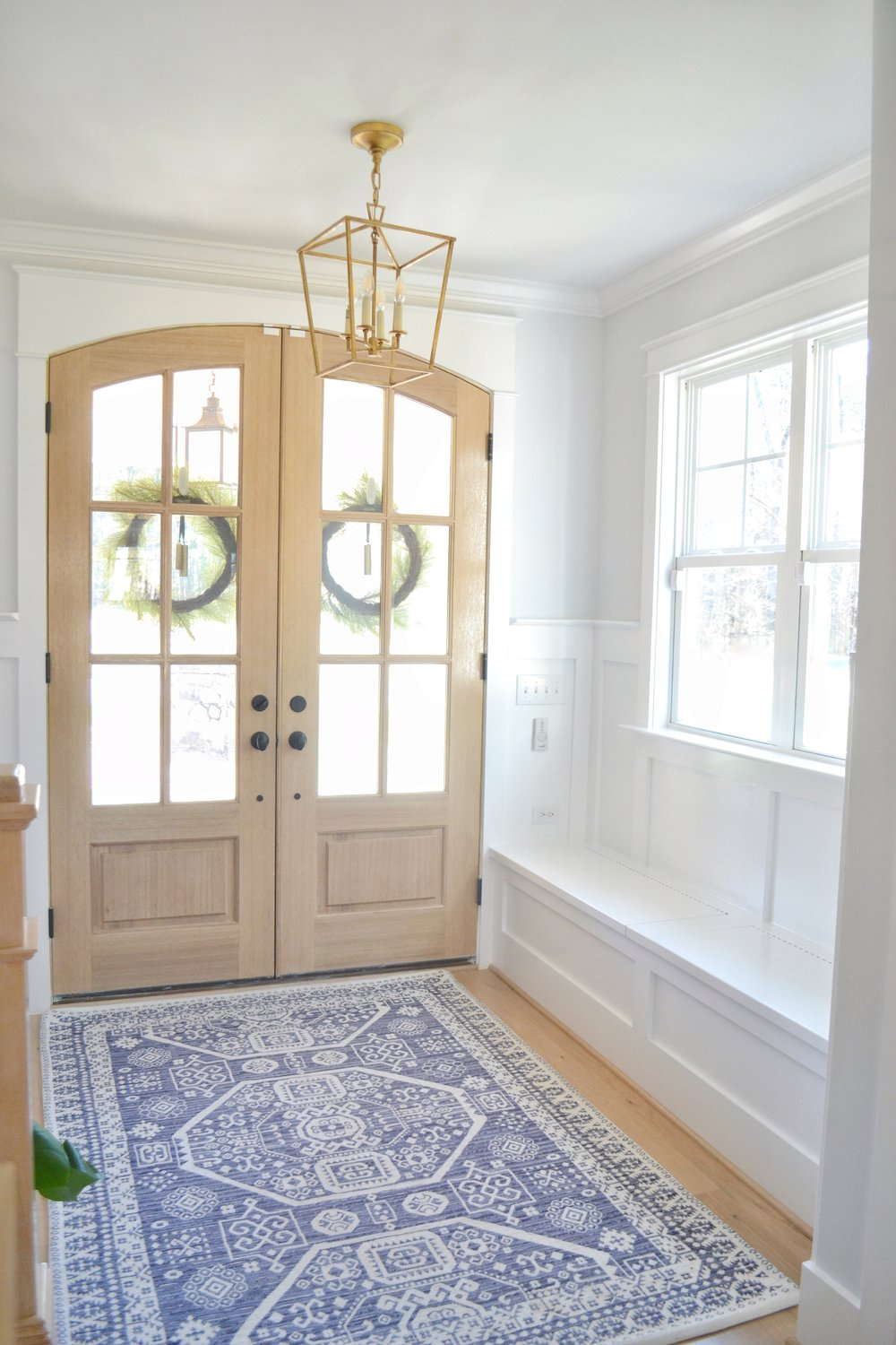 Entry Way with Double Doors and Built in Bench. One Room Challenge