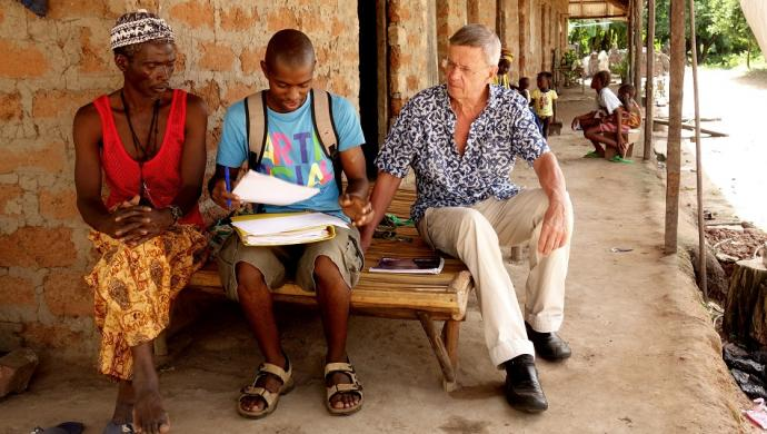 Dr. Peter Aaby (far right) in Africa
