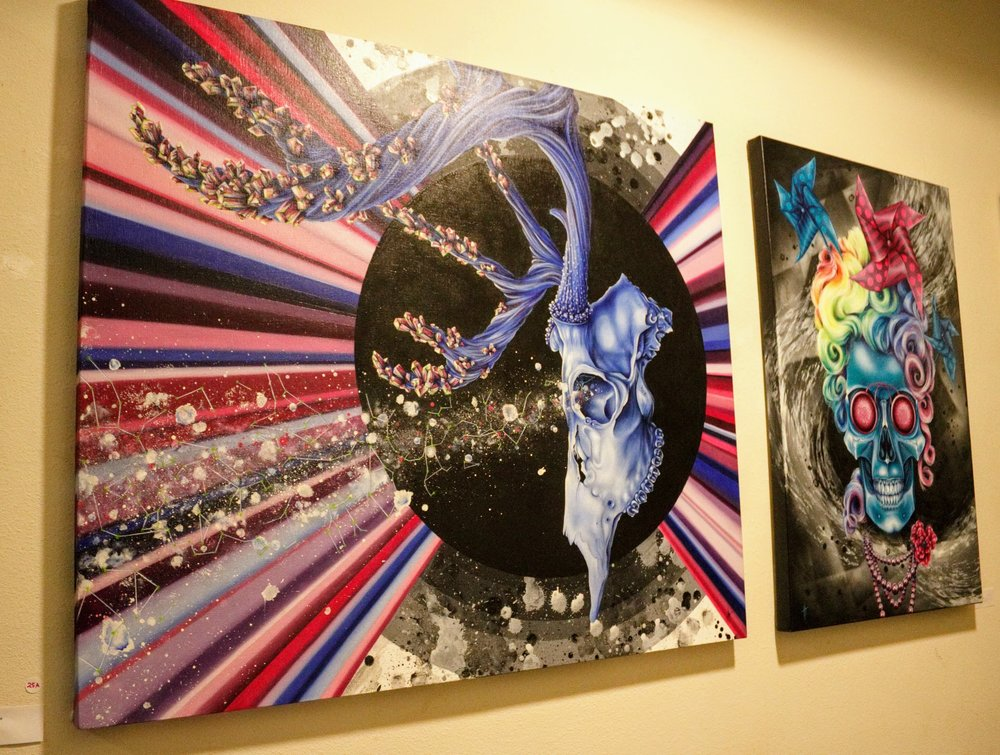 "Left ""Plucky Bucky,"" Right ""Pinwheel Pearl"" by Holli Michener Art"