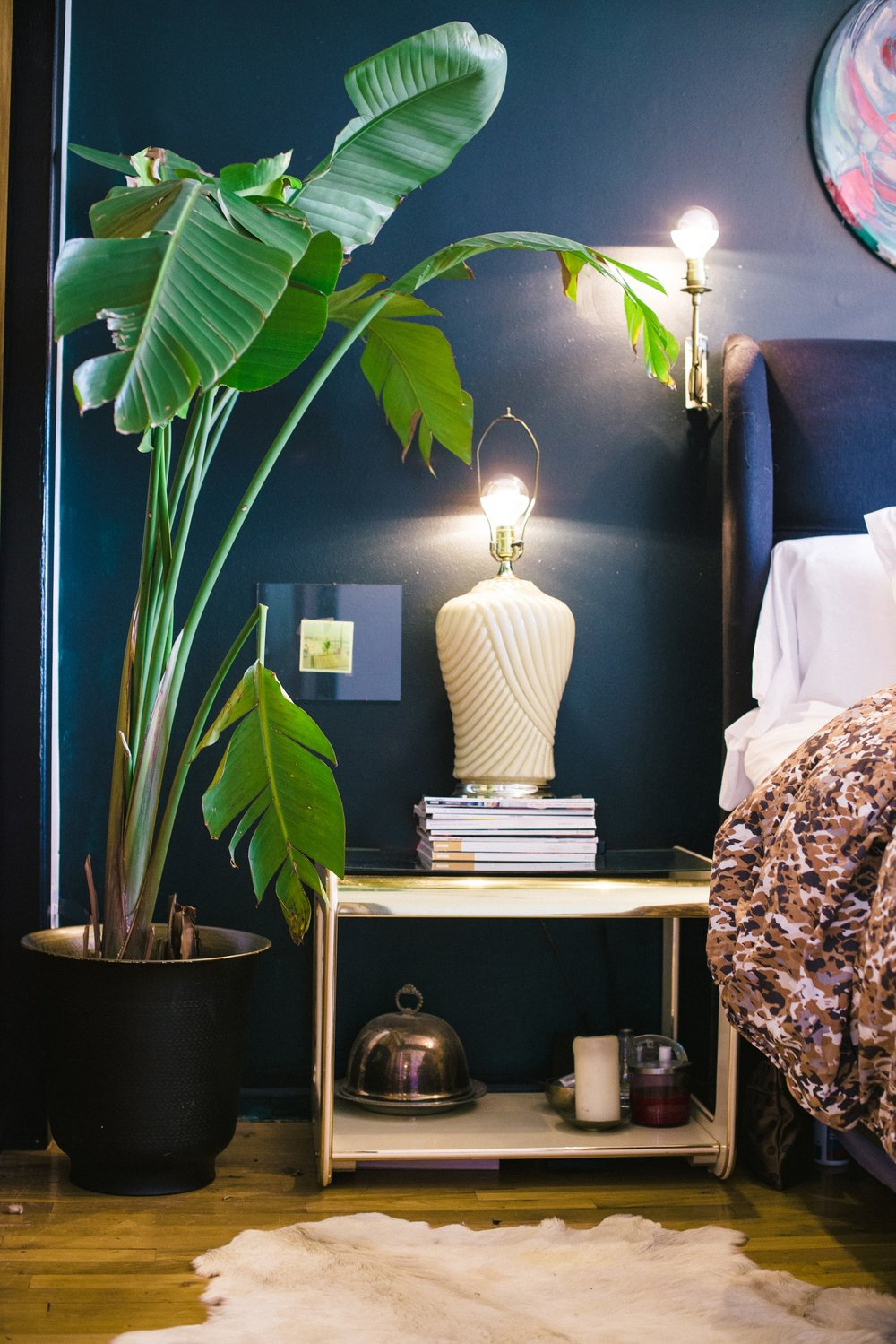 Bedroom bedside table with tall green plant