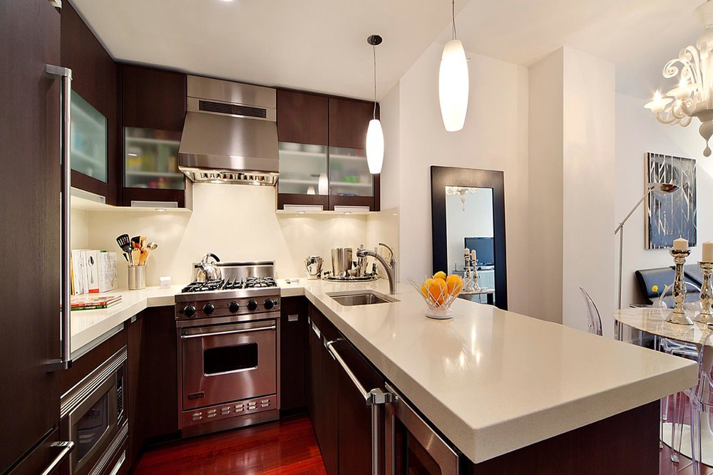 Kitchen with solid marble island
