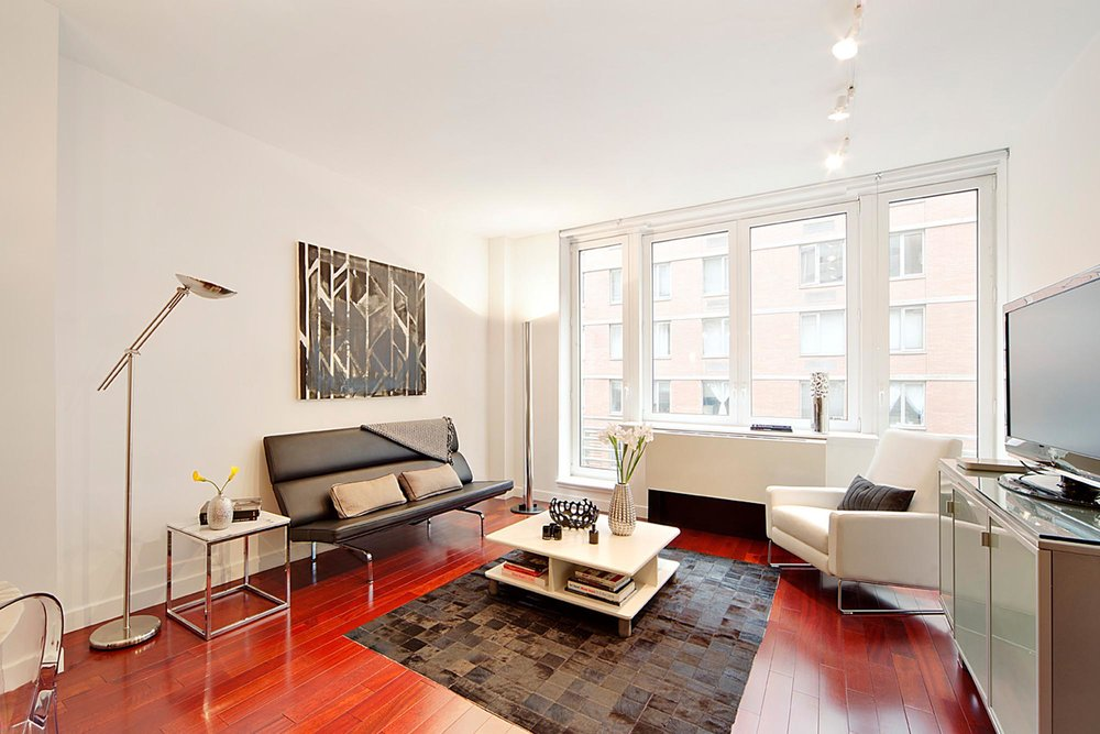 Living room with sleek modern furniture