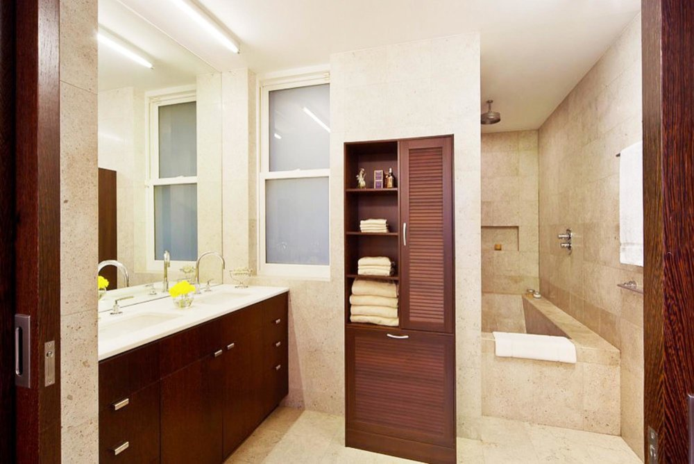 Modern bathroom with sold marble bathtub