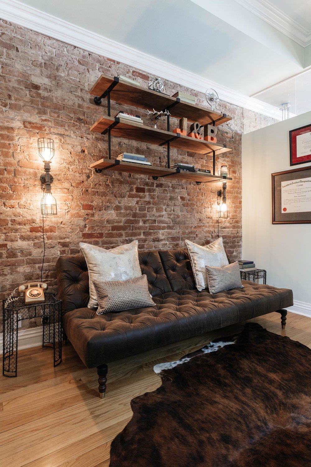 Vintage style sitting area with futon and pillows