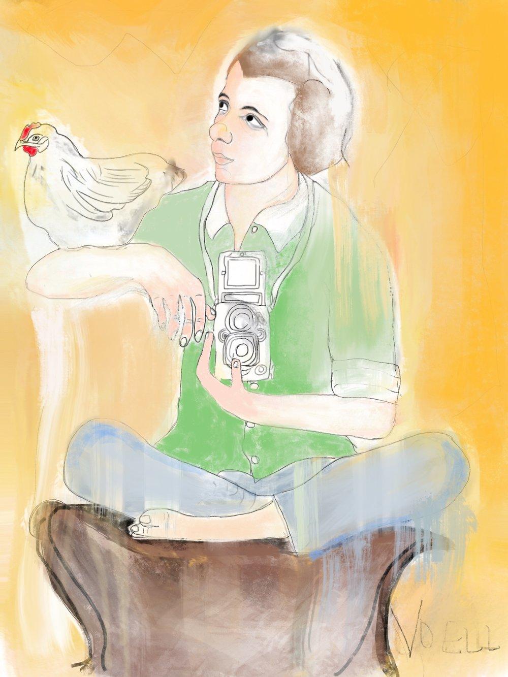 Vivian Maier and Chicken — digital illustration, 2019