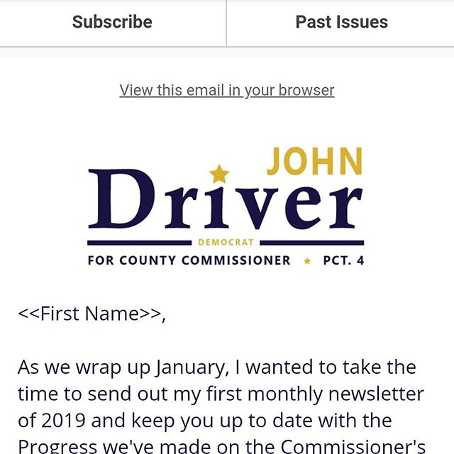 Happy #Thursday! January is almost over and we've managed to accomplish a lot already. That's why I sent out the first edition of my monthly personal #newsletter to keep you up-to-date on all the latest happenings in the County and in #Precinct4. Copy the link to sign up right here 👉 eepurl.com/dsekHr to get it sent directly to your inbox!  #bellcounty #localgovernment #killeentx #beltontx