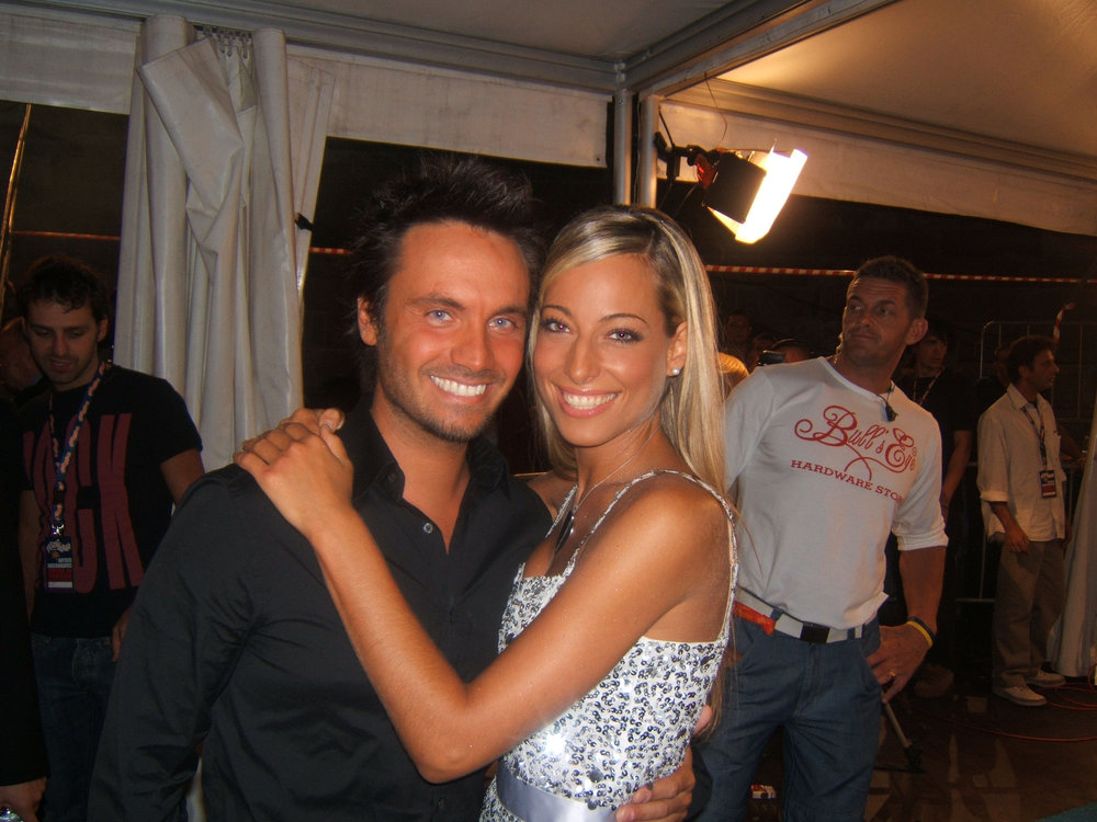 "Backstage while hosting televised network concert series ""Festivalbar"": Jessica and Italian pop superstar Nek"