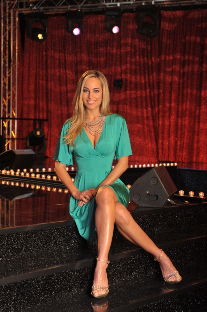 "Jessica on the set of the network program ""Singing Office"", for which she was on the judging panel"