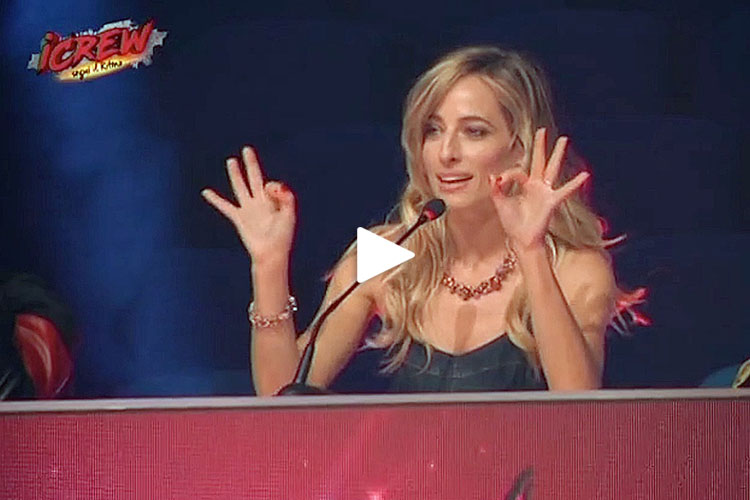 "Jessica heads the judging panel for Italian television's popular dance talent show competition, ""iCrew"""