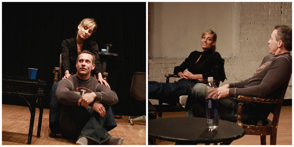 "Jessica and John Krisiukenas in rehearsal for the world premiere of the Off-Broadway drama ""Ghost Wife Radio"""