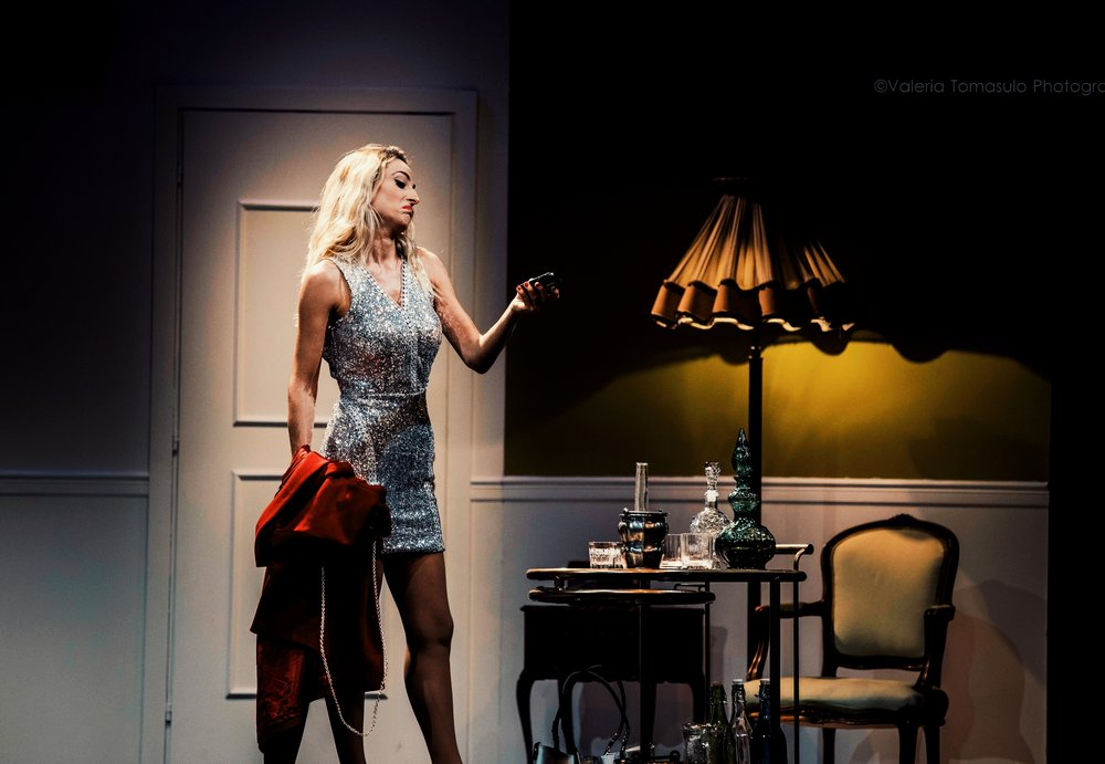 "Jessica onstage during a scene from ""The Divorcees' Club"""