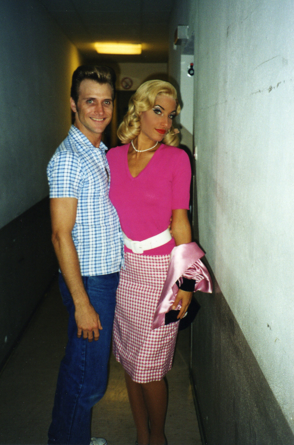 "Jessica as ""Marty"", with Shane Kirkpatrick, on the World Tour of ""Grease"""