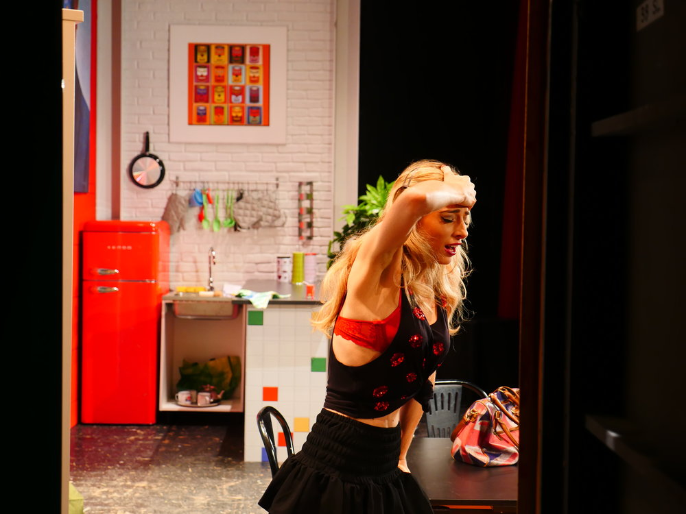 "Jessica onstage in a scene from ""The Divorcees' Club"""