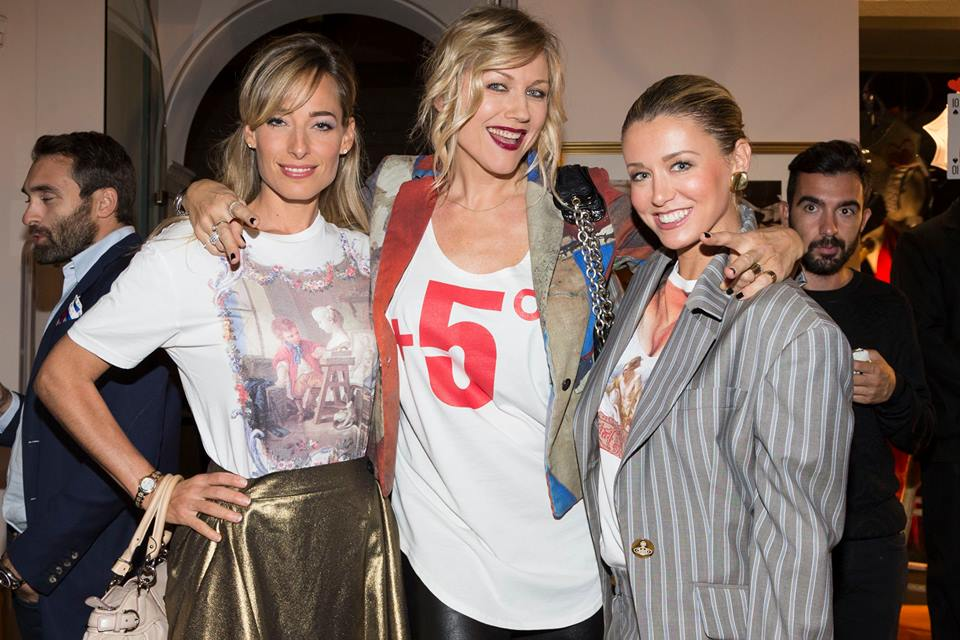 Jessica at Milan Fashion Week party with friends Natasha Stefanenko and Elena Barolo