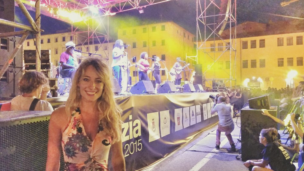 "Jessica, Italy Ambassador and Partner for the musical group and cultural movement ""Playing For Change"", hosts their appearance at Livorno's Blues and Jazz Festival"