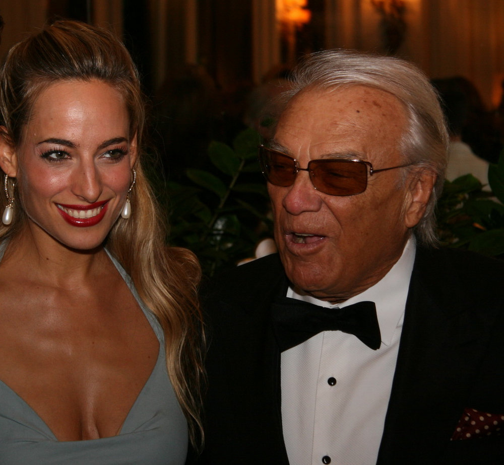 Jessica with late Italian acting legend, Giorgio Albertazzi, at a gala dinner in his honor