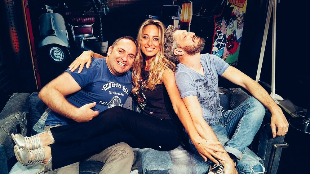 "Jessica with friends and tv personalities Scintilla and Omar Fantini on the set of their tv program ""House of Gag"""