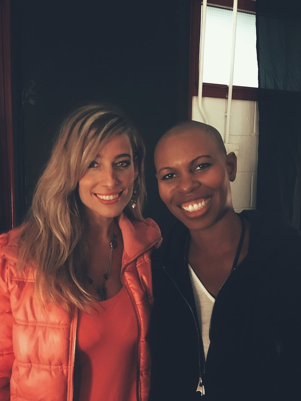 Jessica and recording artist and friend Skin backstage during the world tour of Skin's famed punk rock group, Skunk Anansie