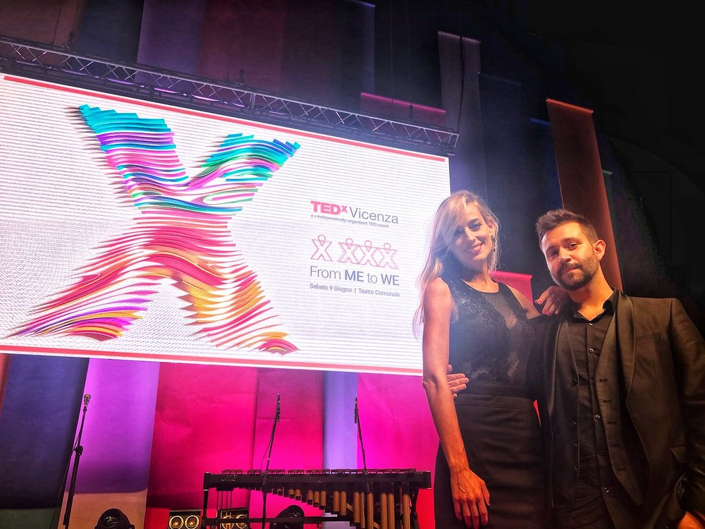 Jessica with friend and Italian YouTube sensation Daniel Doesn't Matter backstage at the TED Talk event she hosted and moderated
