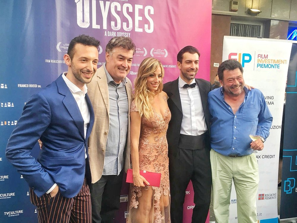 "Jessice with her co-stars at the Italian red carpet premiere of her feature film ""Ulysses"""