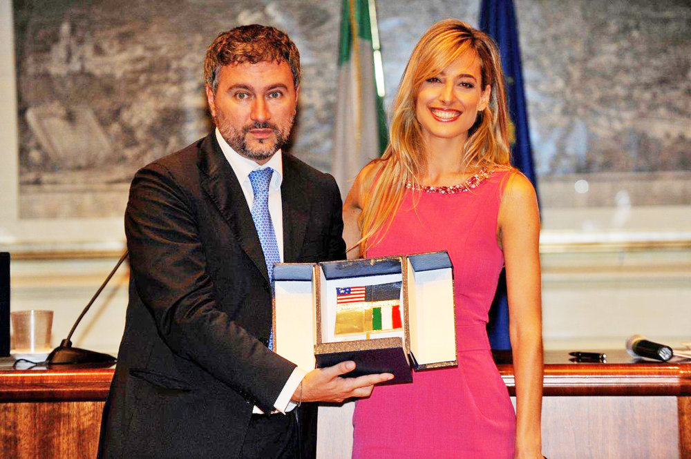 Jessica in the seat of Italy's Parliament receiving her official award recognition as Cultural Ambassador