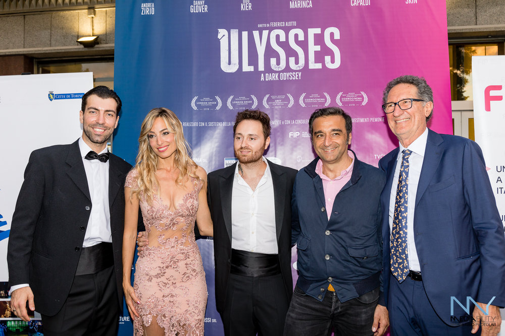 "Jessica with the director and producers of her feature film ""Ulysses"" on the opening night in Italy"