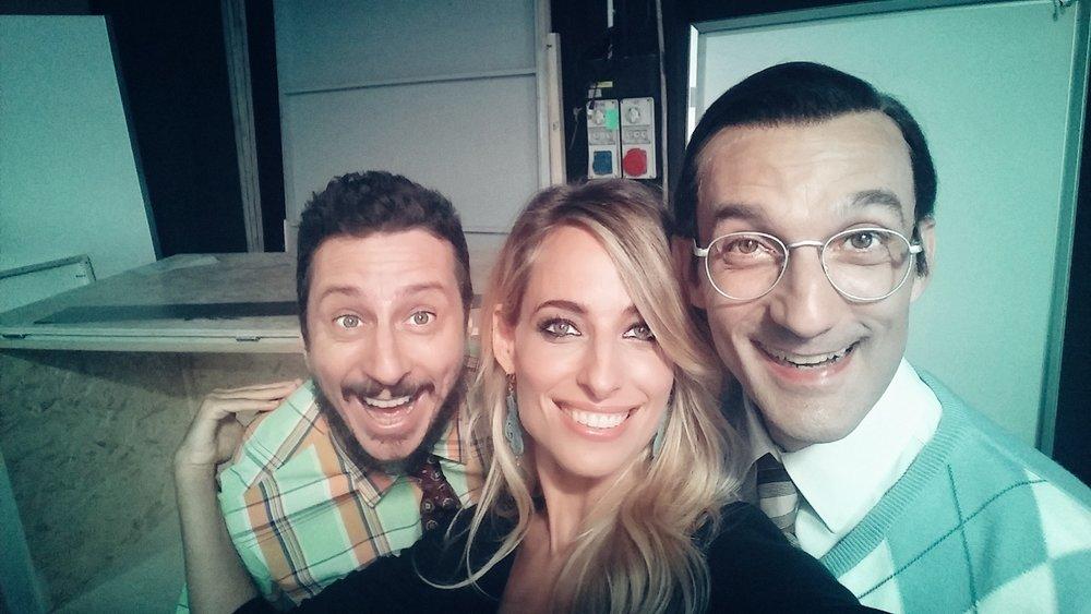 Jessica, Luca Bizzarri ed Alessandro Sampaoli sul set dell'ultima edizione di Camera Cafe' per la RAI