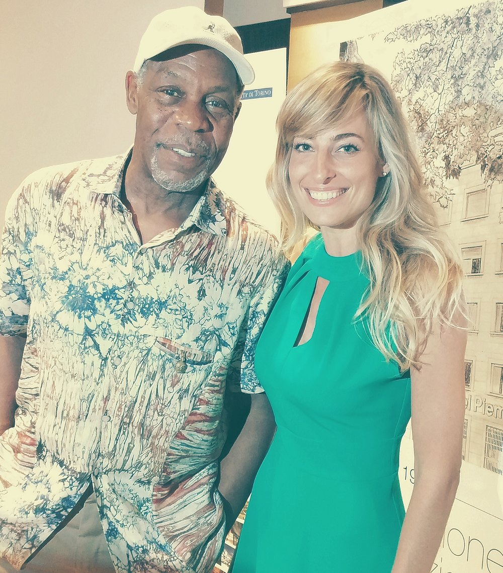 Jessica con l'attore Danny Glover alla conferenza stampa del loro film Ulysses