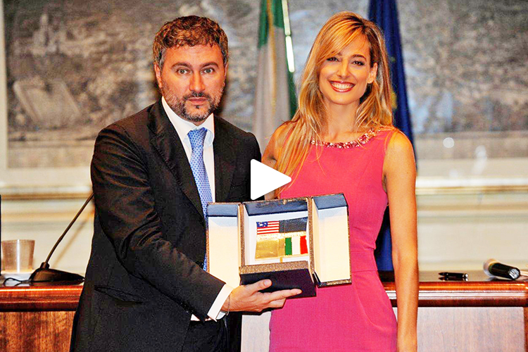 "Jessica receives rare recognition as Cultural Ambassador ""Italy-Usa Award"" from the office of the President in the seat of the Italian Parliament"